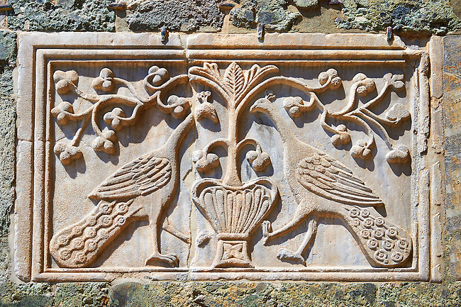 Medieval Oriental Byzantine Bas Reliefs of two peackocks on th Facade of St Mark's Basilica, Venice. Looted from Constantinople after the Fourth Crusade (1202-1204)