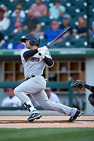L.J. Mazzilli (3) of the Scranton/Wilkes-Barre RailRiders follows through on his swing against the Charlotte Knights at BB&T BallPark on April 14, 2018 in Charlotte, North Carolina.  The RailRiders defeated the Knights 10-5.  (Brian Westerholt/Four Seam Images)