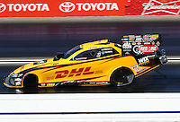 Feb 12, 2017; Pomona, CA, USA; NHRA funny car driver J.R. Todd during the Winternationals at Auto Club Raceway at Pomona. Mandatory Credit: Mark J. Rebilas-USA TODAY Sports