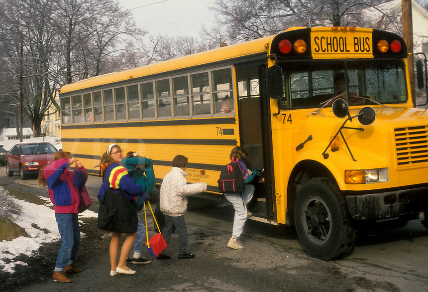 AJ1706, school bus, bus, Children boarding a yellow schoolbus in Exton, Pennsylvania