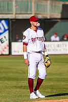 Wisconsin Timber Rattlers shortstop Brice Turang (2) blows a bubble while playing defense during a Midwest League game against the Burlington Bees on April 26, 2019 at Fox Cities Stadium in Appleton, Wisconsin. Wisconsin defeated Burlington 2-0. (Brad Krause/Four Seam Images)