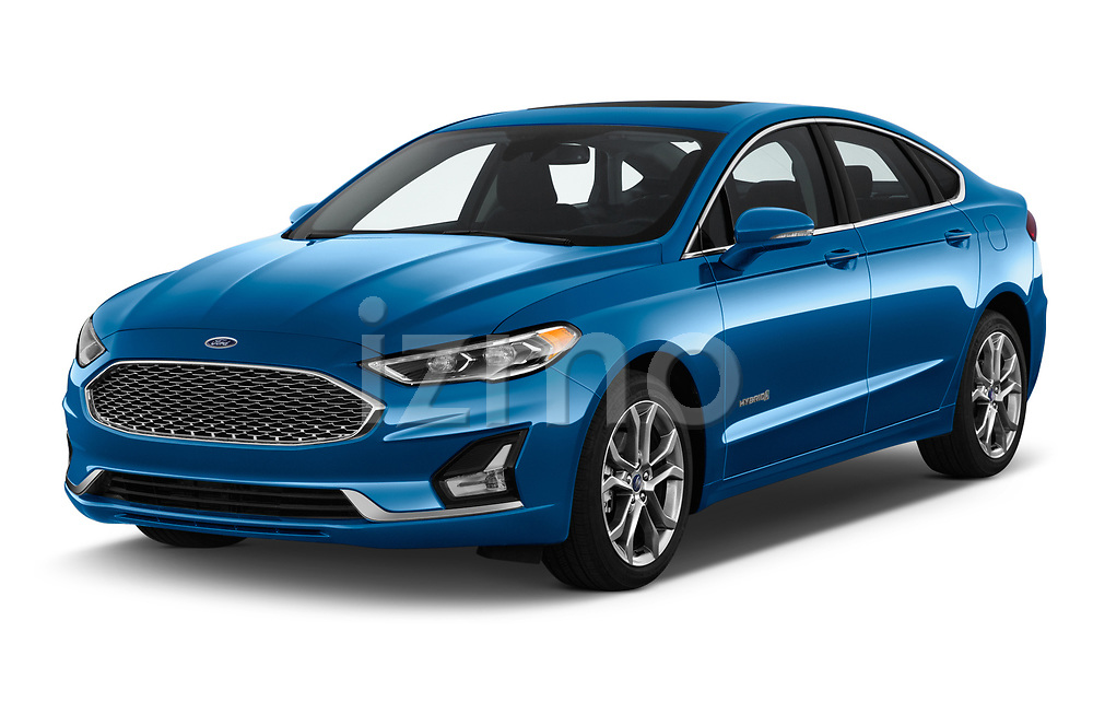 2019 Ford Fusion-Hybrid Titanium  4 Door Sedan angular front stock photos of front three quarter view