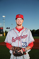 Noah Bremer (8) of the Spokane Indians poses for a photo after a game against the Hillsboro Hops at Ron Tonkin Field on July 23, 2017 in Hillsboro, Oregon. Spokane defeated Hillsboro, 5-3. (Larry Goren/Four Seam Images)
