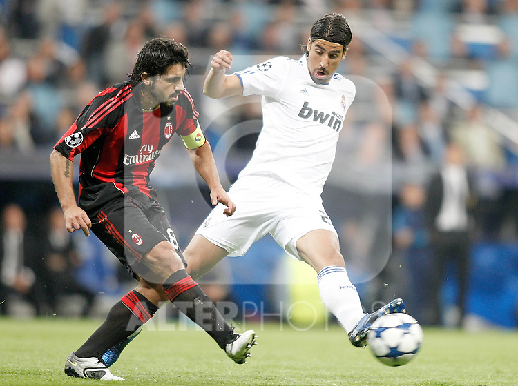 Real Madrid's Sami Khedira against Milan's Gennaro Gattuso during UEFA Champions League match. October 19, 2010. (ALTERPHOTOS/Alvaro Hernandez)
