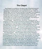 Lloyd Wright: Explanation of Wayfarer's Chapel.  Photo '82.
