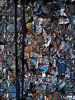 Montreal (QC) CANADA - 2001 file photo - compacted raw material waiting to be recycled
