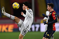 Takehiro Tomiyasu of Bologna Fc and Miha Zajc of Genoa CFC compete for the ball  during the Serie A football match between Genoa CFC and Bologna FC at Marassi Stadium in Genova (Italy), January 10th, 2021. Photo Daniele Buffa / Image Sport / Insidefoto
