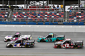#2: Sheldon Creed, GMS Racing, Chevrolet Silverado Chevrolet Accessories, #4: Todd Gilliland, Kyle Busch Motorsports, Toyota Tundra Mobil 1, #13: Johnny Sauter, ThorSport Racing, Ford F-150 Tenda Heal, and #12: Gus Dean, Young's Motorsports, Chevrolet Silverado LG Air Conditioning Technologies