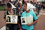 In Plaza de Mayo each Thursday, the Madres de la Plaza de Mayo demonstrate. These white head scarf wearing women demonstrate and remind the government that their husbands, children and relatives disappeared during the so-called Dirty War,( 1976-80 ) 2002 2000s