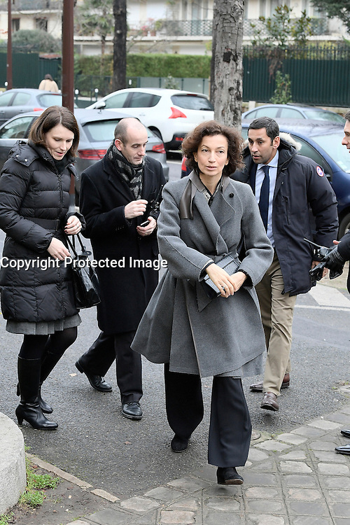 Audrey Azoulay - Obseques de Michele Morgan - Service religieux en l'Èglise Saint-Pierre de Neuilly-sur-Seine le 23 decembre 2016