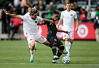 LOS ANGELES, CA - MARCH 01: Rodolfo Pizarro #10 of Inter Miami CF and Latif Blessing #7 of LAFC battle for a loose ball during a game between Inter Miami CF and Los Angeles FC at Banc of California Stadium on March 01, 2020 in Los Angeles, California.