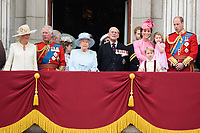 Camilla, Duchess of Cornwall, Prince Andrew, Prince Charles, Queen, Prince Phillip, Catherine Duchess of Cambridge, Princess Charlotte, Prince George and Prince William<br /> on the balcony of Buckingham Palace during Trooping the Colour on The Mall, London. <br /> <br /> <br /> ©Ash Knotek  D3283  17/06/2017