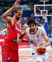 Kosarka FIBA Olympic Basketball Qualifying Tournament<br /> Srbija v Puerto Rico<br /> Milos Teodosic (R) and Ricky Sanchez Rosa<br /> Beograd, 04.07.2016.<br /> foto: Srdjan Stevanovic/Starsportphoto©