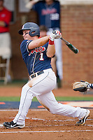 Zach Miller #1 of the Ole Miss Rebels follows through on his swing against the Virginia Cavaliers at the Charlottesville Regional of the 2010 College World Series at Davenport Field on June 5, 2010, in Charlottesville, Virginia.  The Cavaliers defeated the Rebels 13-7.  Photo by Brian Westerholt / Four Seam Images