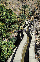 Oman. Wadi Bani Kharus.  Falaj Carrying Water to Agricultural Terraces.