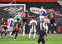 15th September 2020; Vitality Stadium, Bournemouth, Dorset, England; English Football League Cup, Carabao Cup Football, Bournemouth Athletic versus Crystal Palace; the header from Jack Simpson of Bournemouth goes over the bar under pressure from goalkeeper Wayne Hennessey of Crystal Palace