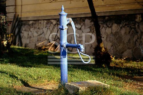 Czech Republic. Village pump painted blue.