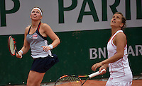 Paris, France, 26 June, 2016, Tennis, Roland Garros,  Doubles: Michaella Krajicek (NED) (L) with her doubles partner Barbora Strycova<br /> Photo: Henk Koster/tennisimages.com