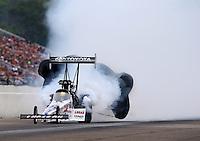 Aug 17, 2014; Brainerd, MN, USA; NHRA top fuel driver Morgan Lucas during the Lucas Oil Nationals at Brainerd International Raceway. Mandatory Credit: Mark J. Rebilas-USA TODAY Sports