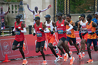 4th October 2020, London, England; 2020 London Marathon; Eliud Kipchoge (KEN) running in the lead group during the historic elite-only Virgin Money London Marathon taking place on a closed-loop circuit around St James's Park in central London on Sunday 4 October 2020.