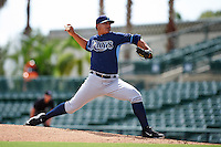 Tampa Bay Rays pitcher Edrick Agosto (56) during an instructional league game against the Baltimore Orioles on September 25, 2015 at Ed Smith Stadium in Sarasota, Florida.  (Mike Janes/Four Seam Images)