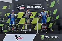 27th September 2020, Circuit de Barcelona Catalunya, Barcelona, MotoGp of Catalunya, Race Day;  Joan Mir ESP, Fabio Quartararo FRA, Alex Rins ESP celebrate on the podium