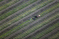 aerial photograph of a tractor working northern California vineyard
