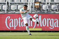 LOS ANGELES, CA - APRIL 17: Rodney Redes #11 of Austin FC during a game between Austin FC and Los Angeles FC at Banc of California Stadium on April 17, 2021 in Los Angeles, California.