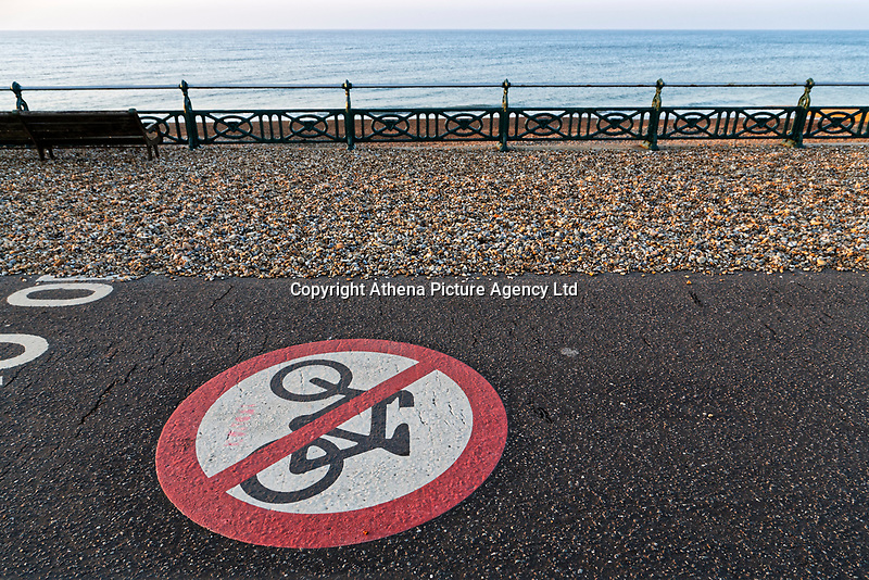 A no cycling sign on the tarmac by Brighton beach, England UK. Saturday 24 February 2018