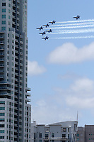 MIAMI BEACH,  FL - MAY 08: COVID-19: Hordes of people came out to watch and pay respect to the first responders as they watched  the Blue Angels fly over Miami . The U.S. Navy's Blue Angels honored frontline COVID-19 responders and essential workers with formation flights over here on May 8, 2020 in Miami Beach, Florida<br /> <br /> People:  Blue Angels