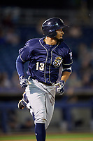 San Antonio Missions shortstop Jose Rondon (13) runs to first base during a game against the Tulsa Drillers on June 1, 2017 at ONEOK Field in Tulsa, Oklahoma.  Tulsa defeated San Antonio 5-4 in eleven innings.  (Mike Janes/Four Seam Images)