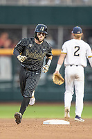 Vanderbilt Commodores catcher Phillip Clarke (5) rounds the bases after his seventh inning home run against the Michigan Wolverines during Game 2 of the NCAA College World Series Finals on June 25, 2019 at TD Ameritrade Park in Omaha, Nebraska. Vanderbilt defeated Michigan 4-1. (Andrew Woolley/Four Seam Images)