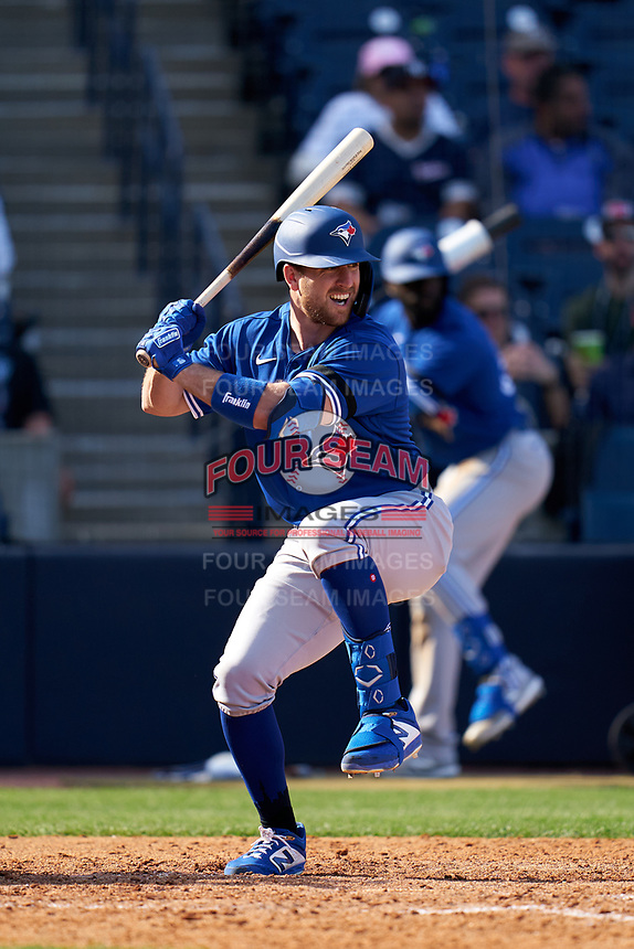 Toronto Blue Jays Patrick Kivlehan (46) bats during a Spring Training game against the New York Yankees on February 22, 2020 at the George M. Steinbrenner Field in Tampa, Florida.  (Mike Janes/Four Seam Images)