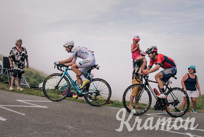white jersey / best young rider Pierre Latour (FRA/AG2R-LaMondiale) & Ion Izagirre (ESP/Bahrain-Merida) up the last climb of the 2018 Tour: the Col d'Aubisque (HC/1709m/16.6km@4.9%)<br /> <br /> Stage 19: Lourdes > Laruns (200km)<br /> <br /> 105th Tour de France 2018<br /> ©kramon