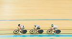 (From left) Leung Chun Wing of the SCAA, Mow Ching Yin of the CMS and Cheung King Lok of IND compete in Men Elite - Points Race 30KM Final during the Hong Kong Track Cycling National Championship 2017 on 25 March 2017 at Hong Kong Velodrome, in Hong Kong, China. Photo by Marcio Rodrigo Machado / Power Sport Images