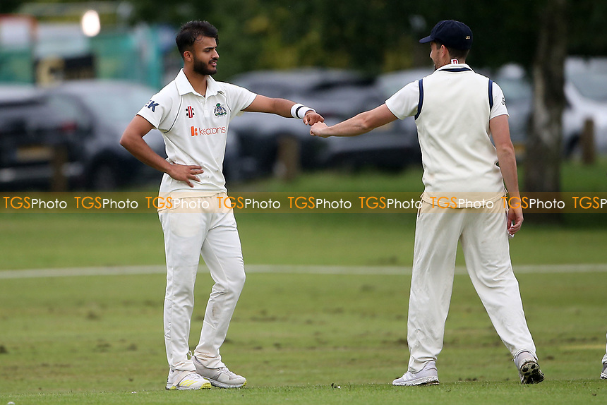 E Kalley of Wanstead celebrates taking the wicket of F Jacobs during Hornchurch CC vs Wanstead and Snaresbrook CC, Hamro Foundation Essex League Cricket at Harrow Lodge Park on 10th July 2021