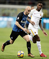 Calcio, Serie A: Inter - Roma, Milano, stadio Giuseppe Meazza (San Siro), 21 gennaio 2018.<br /> Inter's Borja Valero (l) in action with Roma's Gerson (r) during the Italian Serie A football match between Inter Milan and AS Roma at Giuseppe Meazza (San Siro) stadium, January 21, 2018.<br /> UPDATE IMAGES PRESS/Isabella Bonotto