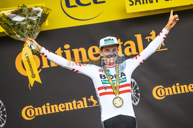 Austrian Champion Patrick Konrad (AUT) Bora-Hansgrohe wins Stage 16 of the 2021 Tour de France, running 169km from Pas de la Case to Saint-Gaudens, France. 13th July 2021.  <br /> Picture: A.S.O./Charly Lopez | Cyclefile<br /> <br /> All photos usage must carry mandatory copyright credit (© Cyclefile | A.S.O./Charly Lopez)