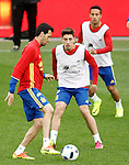 Spain's Sergio Busquets, Hector Bellerin and Thiago Alcantara during training session previous friendly match. May 31,2016.(ALTERPHOTOS/Acero)