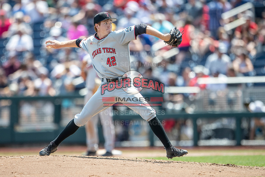 Texas Tech Red Raiders pitcher Hunter Dobbins (42) delivers a pitch to the plate during Game 11 of the NCAA College World Series against the Michigan Wolverines on June 21, 2019 at TD Ameritrade Park in Omaha, Nebraska. Michigan defeated Texas Tech 15-3 and is headed to the CWS Finals. (Andrew Woolley/Four Seam Images)