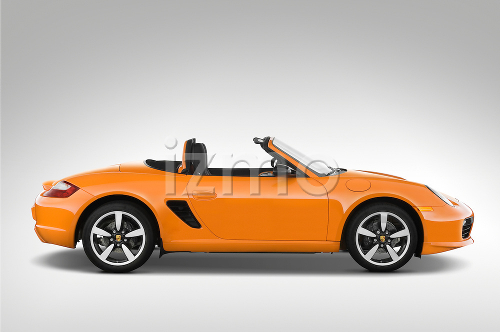 Passenger side profile of a 2008 Porsche Boxster LE, with the top down