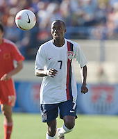 DaMarcus Beasley eyes the ball. The USA defeated China, 4-1, in an international friendly at Spartan Stadium, San Jose, CA on June 2, 2007.