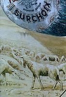 Europe/France/Midi-Pyrénées/12/Aveyron/Larzac/Roquefort sur Soulzon: Sur un mur vieille Publicité peinte pour le Fromage de Roquefort [Non destiné à un usage publicitaire - Not intended for an advertising use]
