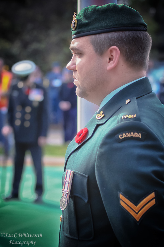 One of the Princess Patricia's stands at attention during the Remembrance Day ceremonies in Oakville.