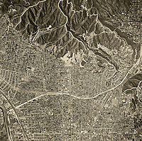 historical aerial photograph Glendale, California, 1952