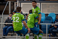 SAN JOSE, CA - MAY 12: Cristian Roldan #7 of the Seattle Sounders celebrates his goal during a game between San Jose Earthquakes and Seattle Sounders FC at PayPal Park on May 12, 2021 in San Jose, California.