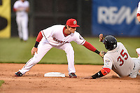 Harrisburg Senators second baseman Rick Hague (5) tags out first baseman Kennys Vargas (35) on an attempted steal during a game against the New Britain Rock Cats on April 28, 2014 at Metro Bank Park in Harrisburg, Pennsylvania.  Harrisburg defeated New Britain 9-0.  (Mike Janes/Four Seam Images)
