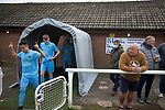 Holker Old Boys 2 Crook Town 1, 10/10/2020. Rakesmoor, FA Vase second round qualifying. The visiting team emerge on to the pitch before Holker Old Boys take on Crook Town in an FA Vase second round qualifying tie at Rakesmoor, Barrow-in-Furness. The home club was established in 1936 as Holker Central Old Boys and was initially an under-16 team for former pupils of the Holker Central Secondary School. Holker from the North West Counties League beat their Northern League opponents 2-1, watched by a crowd of 147 spectators. Photo by Colin McPherson.