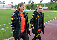 20190304 - LARNACA , CYPRUS :  Belgian Lenie Onzia and Janice Cayman (r) pictured during a women's soccer game between Nigeria and the Belgian Red Flames , on Monday 4 th March 2019 at the GSZ Stadium in Larnaca , Cyprus . This is the third and last game in group C for both teams during the Cyprus Womens Cup 2019 , a prestigious women soccer tournament as a preparation on the Uefa Women's Euro 2021 qualification duels. PHOTO SPORTPIX.BE | DAVID CATRY