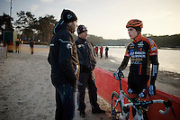Wout Van Aert (BEL/Vastgoedservice-Golden Palace) consulting with his sports director/coach Niels Albert during recon<br /> <br /> Zilvermeercross 2014